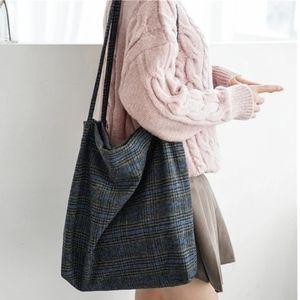 Handbags - Woolen plaid tote bag